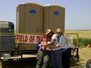 From the left – Dr. Kierstin Bible, Levi Clifton and Charlene Wilson, after a long, hot day in service to Oklahoma farmers.