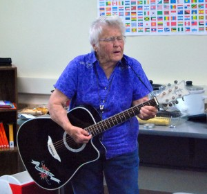 Jesse O. Walls | Contributor Dolores Jennings, non degree seeking student, plays German folk songs for the last German class of the semester on April 29.