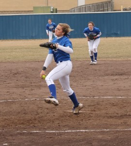 Ryan Land | Sports Editor  Brooklynne Simbeck, freshman #1 pitcher and general studies/pre-nursing major, pitches during a Feb. 15 game against Lake Land Community College.