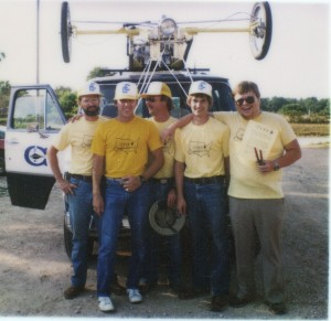 Photo contributed From left to right: Art Boyt, former Crowder alternative energy instructor, former Crowder graduates and students Chris Kalmbach, Greg Brockman and Steve Tipton and Doug Smith, an electrical engineer from University of Missouri Rolla, stand in front of the campus van with the TSAR strapped on top back in 1984.