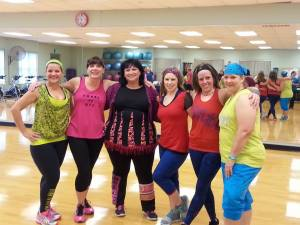 Six instructors helped teach the group at the TRIO Zumbathon fundraiser on Nov. 15 at the Neosho YMCA.