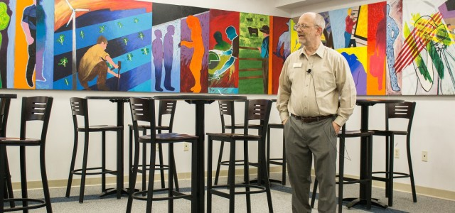"The mural titled, ""Plan, Lean, Care, Create, Serve,"" was a student project lead by Allen Bishop, a recently retired art instructor, and designed by the fall 2015 and spring 2016 semester students."