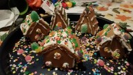 Making the houses wasn't too hard, mostly because I put my fiancé, Nick, in charge of the frosting and I just put the pieces together. We did have to do some emergency repairs when I pressed the pieces together too hard, though.